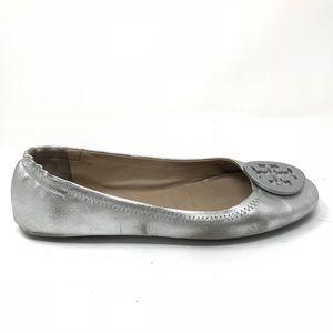 Tory Burch Sz 7 Minnie Travel Ballet Flats Silver